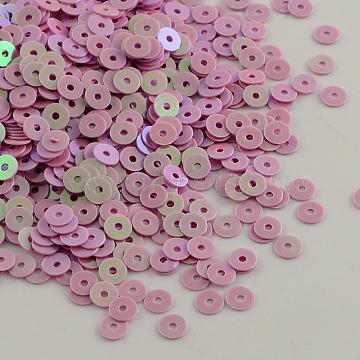 Ornament Accessories Disc Shape Plastic Paillette Beads, Sequins Beads, PearlPink, 6mm, Hole: 0.5mm(X-PVC-Q014-6mm-21)