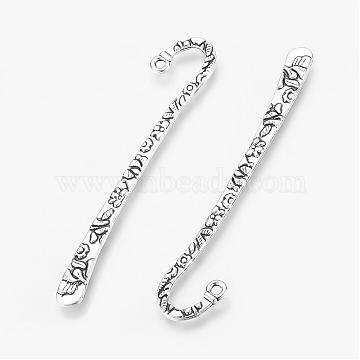 Tibetan Style Alloy Bookmarks, Lead Free and Cadmium Free, Antique Silver, 79.5x15.5x2mm, Hole: 2mm(X-LF9212Y)