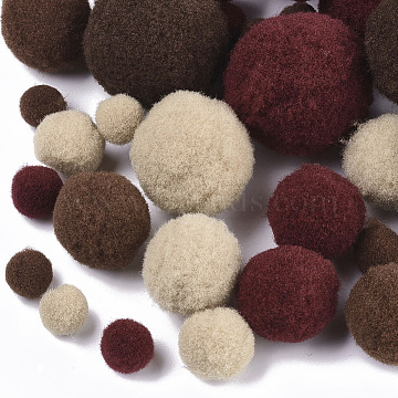 DIY Doll Craft Polyester High-elastic Pompon Ball, Round, Mixed Color, 7~29mm(AJEW-R093-01-D01)