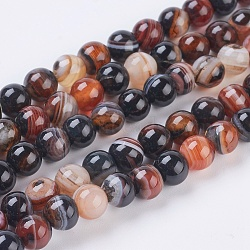 Round Dyed Natural Striped Agate/Banded Agate Beads Strands, CoconutBrown, 6mm, Hole: 1mm; about 62pcs/strand, 14.8