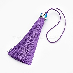 Polyester Tassel Pendant Decorations, with Cloisonne Findings, Slate Blue, 180~185mm(HJEW-WH0003-A08-AS)