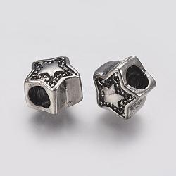 Supports de strass de perles européennes en 304 acier inoxydable, Perles avec un grand trou   , étoiles, argent antique, 11x11x8mm, trou: 4.5 mm; apte à 1 mm strass(STAS-J022-031AS)