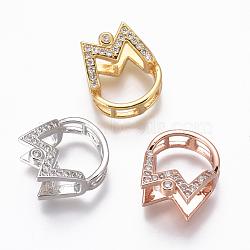 Pendentifs en laiton, avec zircons, pour la moitié de perles percées, clair, couleur mixte, 17x14.5x10mm, trou: 3.4~4x3~3.5 mm; diamètre intérieur: 6 mm; goupille: 1mm(KK-L177-12)