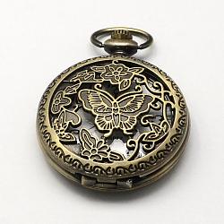 Vintage alliage de zinc cadrans creux de montres à quartz pour création de montre de poche collier pendentif , plat et circulaire avec papillon, bronze antique, 59x46x16mm, Trou: 16x4mm(WACH-R005-27)