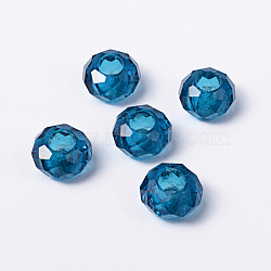 Bleus grands européens de perles de verre de trou de rondelle, pas de noyau métallique, environ 14 mm de diamètre, épaisseur de 8mm, Trou: 5mm(X-GDA007-66)