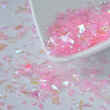 Plastic Candy Sequins/Paillette Chip, UV Resin Filler, for Epoxy Resin Jewelry Making, Pearl Pink, 2~20x2~16mm(X-DIY-I019-01L)