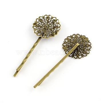 Filigree Flower Tray Vintage Iron Hair Bobby Pin Findings, Antique Bronze, Tray: 25x25mm; 67x25mm(MAK-Q001-003AB)