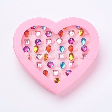 Acrylic Rings for Kids, Mixed Style, Mixed Color, US Size 3(14mm)(RJEW-P058-02)