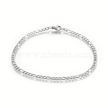 304 Stainless Steel Figaro Chain Bracelets, with Lobster Claw Clasps, Stainless Steel Color, 8-5/8 inches(22cm); Links: 6x3x1mm and 4x3x1mm(BJEW-L634-04A-P)