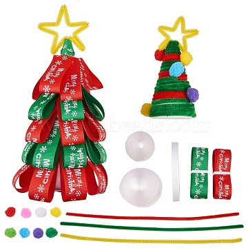 SUNNYCLUE DIY Christmas Trees Making, Cone Modelling Polystyrene Crafts, Tinsel Garland Craft Wire and Ribbon, Mixed Color, 190x73x68mm(DIY-SC0006-30)