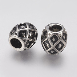 Supports d'émail en perle européenne en 304 acier inoxydable, Perles avec un grand trou   , tambour, argent antique, 11x11mm, Trou: 4.5mm(STAS-J022-021AS)
