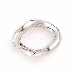 304 Stainless Steel Spring Gate Rings, Twist Ring, Stainless Steel Color, 24.5x19x3.5mm; Inner Diameter: 16.5x11mm(STAS-I133-09P)