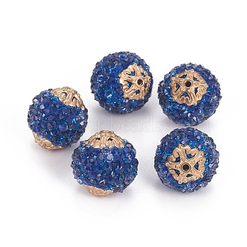 20mm MarineBlue Round Resin+Rhinestone Beads