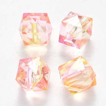 Two Tone Transparent Spray Painted Acrylic Beads, Polygon, Pearl Pink, 7.5x8x8mm, Hole: 1.8mm(X-ACRP-T005-26O)