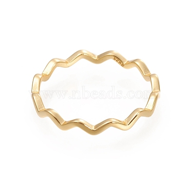 925 Sterling Silver Wavy Rings, Carved 925, Golden, US Size 7 1/4(17.5mm), 2.2mm(STER-D033-03C-G)