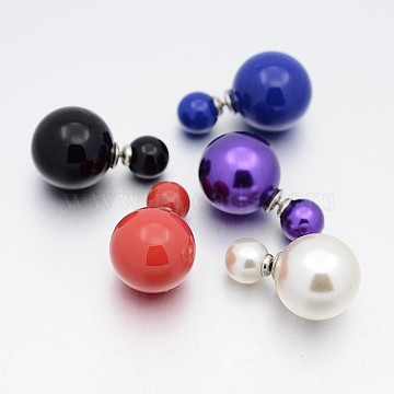 Mixed Color Stainless Steel+Acrylic Stud Earrings