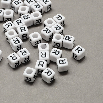Large Hole Acrylic Letter European Beads, White & Black, Cube with Letter.R, 10x10x10mm, Hole: 4mm(X-SACR-Q103-10mm-01R)