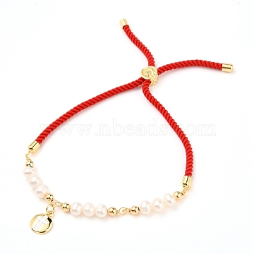 Adjustable Nylon Cord Slider Bracelets, Bolo Bracelets, with Natural Pearl Beads, Brass Beads and Brass Enamel Charms, Flat Round, Red, Star Pattern, Inner Diameter: about 2-1/4~3-1/2 inches(5.7~9cm)(BJEW-JB05544-04)