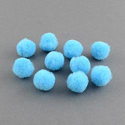 Perles rondes pompon de laine, cyan, 30mm(X-AJEW-S006-3mm-06)