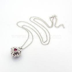 """Colliers avec pendentif médaillon cage de cœur avec long Rolo chaîne en laiton à la mode des femmes, avec des perles en laiton peint à la bombe, strass et de homard fermoirs griffe, rose foncé, 16.92""""(NJEW-L067-05)"""