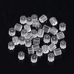 écrous en plastique, boucles d'oreille, effacer, 3x3x3 mm, trou: 0.5 mm(X-KY-R011-05)