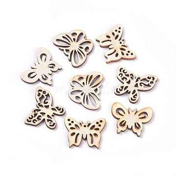Wooden Cabochons, Laser Cut Wood Shapes, Butterfly, BurlyWood, 23~29x32~33x3mm, 50pcs/bag(WOOD-WH0013-02)
