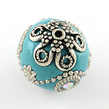 Handmade Indonesia Rhinestones Round Beads, with Antique Silver Tone Brass Ball Chains and Alloy Cores, DarkTurquoise, 23x23~24mm, Hole: 2mm(X-IPDL-R033-08A)