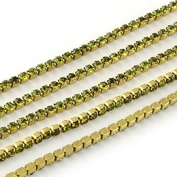 Nickel Free Raw(Unplated) Brass Rhinestone Strass Chains, Rhinestone Cup Chain, 2880pcs rhinestone/bundle, Grade A, Olivine, 2.2mm, about 23.62 Feet(7.2m)/bundle(CHC-R119-S6-03C-1)