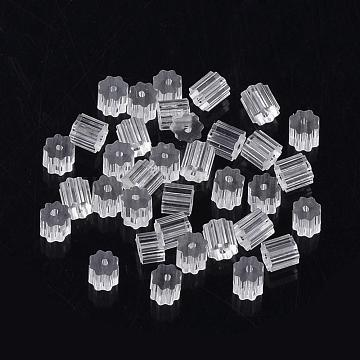 Plastic Ear Nuts, Earring Backs, Clear, 3x3x3mm, Hole: 0.5mm; about 440pcs/10g(X-KY-R011-05)
