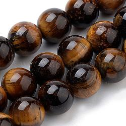Natural Tiger Eye Beads Strands, Round, 4mm, Hole: 1mm; about 90pcs/strand, 15.7inches