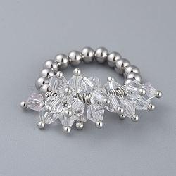 304 bagues élastiques en acier inoxydable, avec perle de verre galvanisée et goupilles en laiton, clair, taille 8, 18mm(RJEW-JR00261-02)