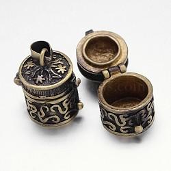 Crémaillère en laiton placage boîte de prière pendentifs, boîte souhaiter, colonne sculptée, sans nickel, bronze antique, 20x14x18mm, Trou: 5x3mm(KK-E738-06AB-NF)