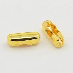 Connecteurs de chaîne à boule en laiton, or, 10x4 mm; fit pour chaîne à billes de 3.2 mm(EC309-4G)