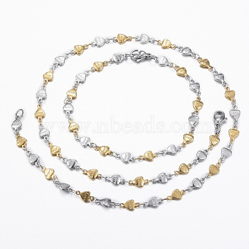 304 Stainless Steel Heart Link Chain Jewelry Sets, Necklaces and Bracelets, with Lobster Claw Clasps, Word Love, For Valentine's Day , Golden & Stainless Steel Color, 17.72 inches(45cm); 7-7/8 inches~8-1/4 inches(200~210mm)(SJEW-H103-02GP)