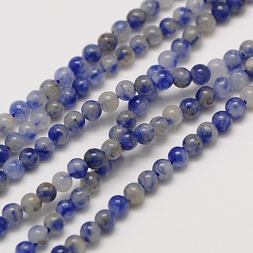 Natural Gemstone Blue Spot Jasper Round Beads Strands, 2mm, Hole: 0.8mm, about 184pcs/strand, 16 inches(X-G-A130-2mm-21)