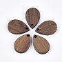 Wood Pendants, Teardrop, SaddleBrown, 17x11x2.5~3mm, Hole: 1.6mm