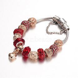 Bracelets en alliage avec perles européennes avec strass, avec des perles de verre et chaîne en laiton, rouge, 190mm(BJEW-L602-11A)
