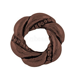 Style tibétain cadres bague en alliage de perles, sans plomb et sans nickel, cuivre rouge, 11.5x4mm, Trou: 1.5mm(X-TIBEB-0156-R-NR)