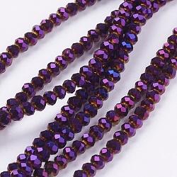 """Perles de verre rondelles à facettes, pourpre plaqué, 3x2mm, trou: 1mm; environ 100 pcs/chapelet, 10""""(X-EGLA-D020-3x2mm-84)"""