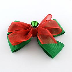 Noël gros-grain bowknot alligator pinces à cheveux, avec des clips de fer, rouge, platine, 90x120mm; clip: 56x8mm(PHAR-R167-07)