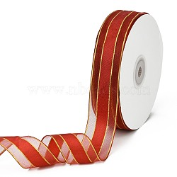 """Solid Color Organza Ribbons, Golden Wired Edge Ribbon, for Party Decoration, Gift Packing, FireBrick, 1""""(25mm); about 50yard/roll(45.72m/roll)(ORIB-E005-A11)"""