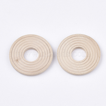 40mm PeachPuff Flat Round Wood Beads