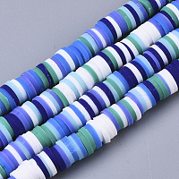 Handmade Polymer Clay Beads Strands, for DIY Jewelry Crafts Supplies, Heishi Beads, Disc/Flat Round, Mixed Color, 6x0.5~1mm, Hole: 1.8mm, about 320~447pcs/strand, 15.75 inches~16.14 inches(40~41cm)