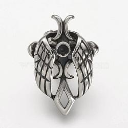 304 fermoir en acier inoxydable rhinestone, beetle, argent antique, 32x22.5x18mm, trou: 5x10 mm; apte à 3 mm strass(STAS-P169-60AS)