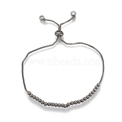 Brass Bolo Bracelets, Slider Bracelets, with Cubic Zirconia, Clear, Gunmetal, 10-5/8inches(27cm); 1~3mm(ZIRC-T006-20B)
