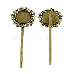 Accessoires bobby épingle à cheveux de fleur, fer avec les supports de la lunette en alliage cabochon, Sans cadmium & sans nickel & sans plomb, bronze antique, 65x24x6 mm; plateau rond plat: 14 mm(PALLOY-Q299-24AB-NR)