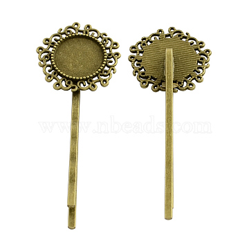 Flower Hair Bobby Pin Findings, Iron with Alloy Cabochon Bezel Settings, Cadmium Free & Nickel Free & Lead Free, Antique Bronze, 65x24x6mm; Flat Round Tray: 14mm(PALLOY-Q299-24AB-NR)