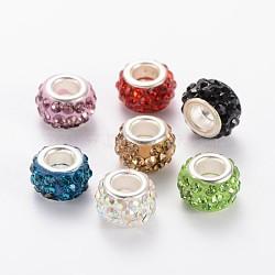 argile polymère strass perles européennes, grand trou perles rondelle, avec platine plaqué noyaux en alliage, couleur mélangée, 10~12x7 mm, trou: 5 mm(X-CPDL-E038-M)