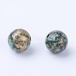 Antique Style Acrylic Beads, Round, Antique Bronze, 9~10mm, Hole: 1.5mm; about 885pcs/500g(OACR-S013-2010A)