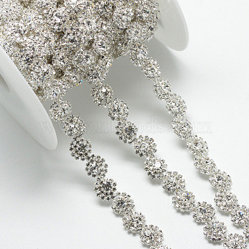 Wedding Dress Decorative Brass Rhinestone Chains, with Spool, Rhinestone Cup Chain, Silver Color Plated, 16x5mm, about 5yards/roll(CHC-R127-50)